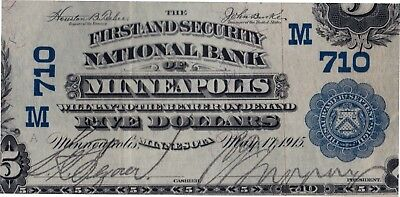 1902 $5 First Security National Bank Minneapolis, MN CH# 710 PMG VF 30EPQ