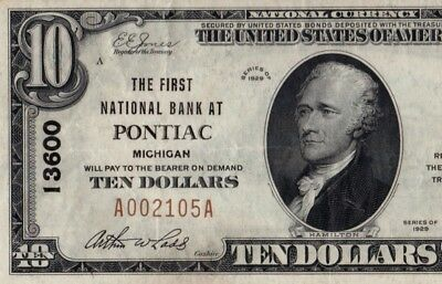 $10 1929 Pontiac Michigan MI First National Bank Note Ch. #13600 PMG VF35EPQ!
