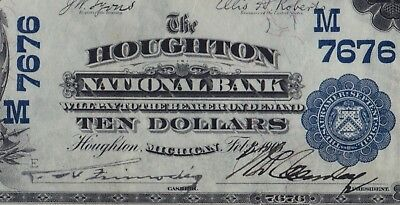 Houghton, MI $10 1902PB National Bank Ch# 7676 PMG VF35 Upper Peninsula Vice Sig