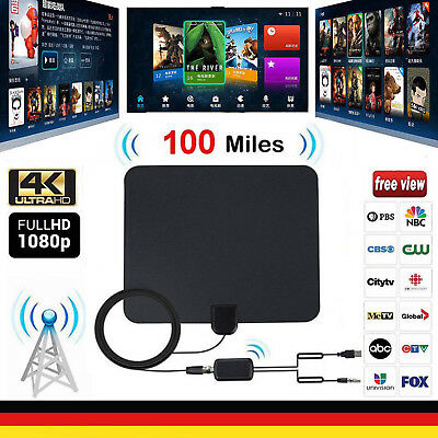 100 Miles Indoor Digital TV Antenna with Signal Amplifier Booster HDTV Antena