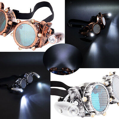 Retro Steampunk Cyber Goggle Steampunk Glasses Vintage Welding Gothic LED Light