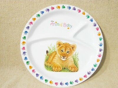 3 Section Divided Melamine Plate Animal Baby