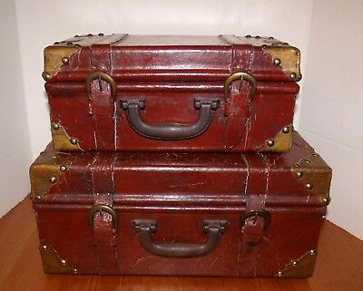 Two Faux Antique Chic & Shabby Leather Stacking Suitcases/Storage Boxes