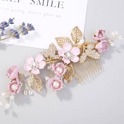 Handmade Flower Crystal Wedding Hair Comb Bridal Hair Pin Side Bobby Pin Jewelry
