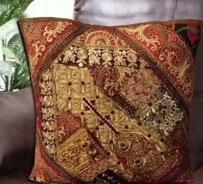"""24"""" Brown Dazzling Sequin Kundan Beaded Tapestry Cushion Floor Bed Pillow Cover"""