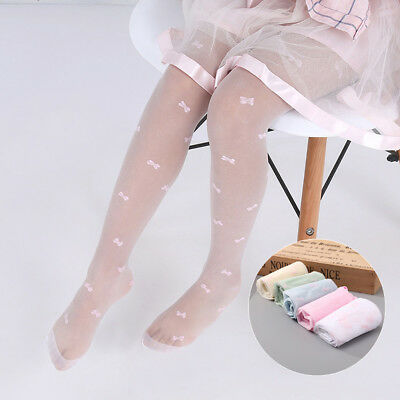 Baby Girls Thin Tights Sheer Stockings Bowknot Embroidery Pantyhose Candy Color