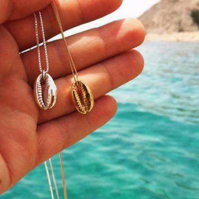 Unique Shell Cowrie Pendant Necklace 14 k Gold Plated Chain Necklace Jewelry HF