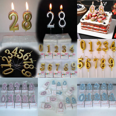 Number 0-9 Happy Birthday Gold Candle Cake Decoration Party Supplies Baking Tool
