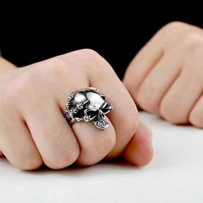 Punk Cool Style Stainless Steel Rock Skull Shape Ancient Silver Dragon Claw Ring