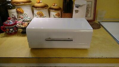 Modern Metal Bread Box White Stainless Steal Handle