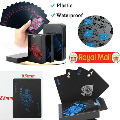 Waterproof Deck of Plastic Playing Cards Collection Black Diamond Poker Cards UK