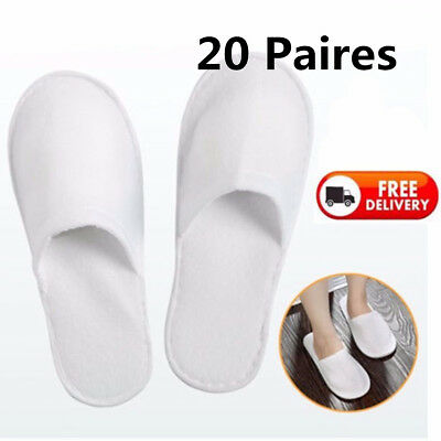 33432bb2543ed 1~20 Pairs White Disposable Slippers Towelling Hotel Slippers SPA Slippers  Guest