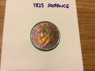 1825 George IV silver Sixpence 6d (Spink 3814) UNC