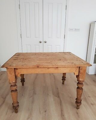 Beautiful Victorian rustic farmhouse vintage antique kitchen dining table