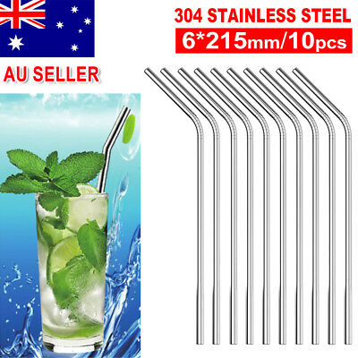 10 x Eco Stainless Steel Metal Drinking Straw Straws Bent Reusable Washable AU