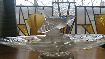 Rare Art Deco frosted glass Libochovice flying bird centrepiece