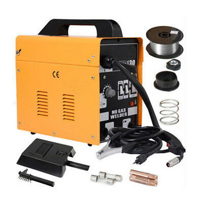 MIG-130 Welder Welding Machine Gas Less Flux Core Wire Automatic w/ Mask Yellow