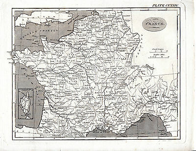 ANTIQUE EDWARD MITCHELL COPPERPLATRE MAP - FRANCE (with CORSICA inset)(c.1800)
