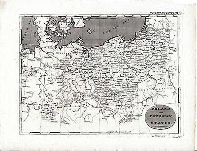 ANTIQUE EDWARD MITCHELL COPPERPLATRE MAP - POLAND AND THE PRUSSIAN STATES(c1820)