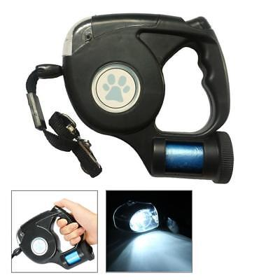3 In 1 Pet Dog Retractable Extendable Leash Lead LED Flashlight w/ Garbage Bag