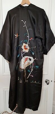 Vintage Japanese Black Silk Embroidered Kimono For Repair/recycle