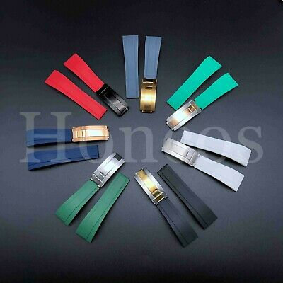 20 21MM Rubber Black strap Band Deployment Buckle Clasp Fits For Rolex Deepsea