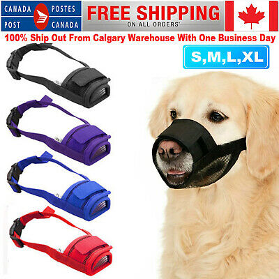 Dog Puppy Pet Mouth Mask Stop Chewing Muzzle Safety Soft Adjustable Anti Bite CA