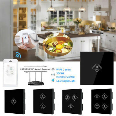 1/2/3/4 Gang Smart WiFi Panel Touch Switches Wall Remete Control LED Light UK