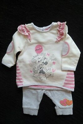 Baby clothes GIRL newborn 0-1m Disney Minnie Mouse LS outfit cream, pink, grey