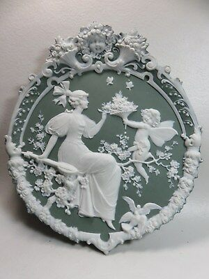 Antique Jasperware Wall Plaque Woman Cherub Doves And Butterfly's