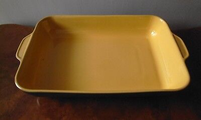 Large Denby Rectangular Two Handled Dish with Green & Yellow Glaze - 41cm x 26cm