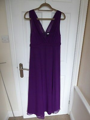 LK Bennett Purple Silk Chiffon Empire Waist Sleeveless Dress in size 14
