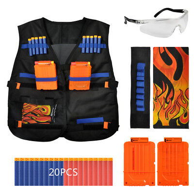 Tactical Vest Suit Set for Nerf N-strike Elite Dart Refill Bullets w/ Glass Gun