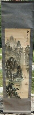 Old chinese scroll,landscape and calligraphy decor, height 1m50