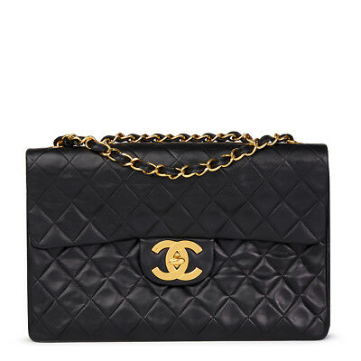 Chanel Black Quilted Lambskin Vintage Maxi Jumbo Xl Flap Bag  Hb1601