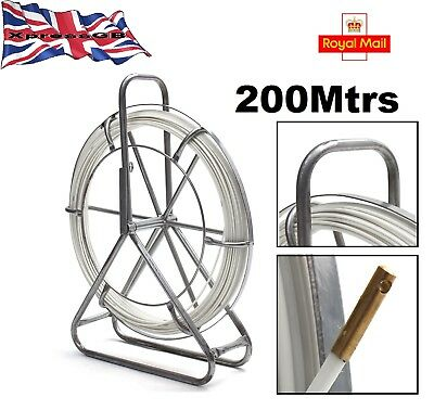 200m Fibreglass Wire Cable Rod Duct Electric Tape Running Puller Lead Tool GB