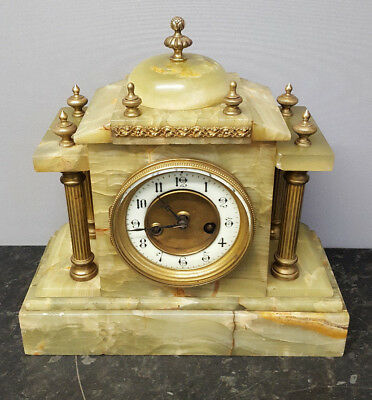 Vintage Green Marble Architectural 8 Day Bracket Clock with Strike