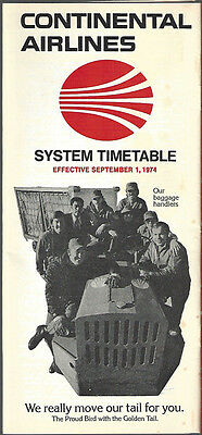 Continental Airlines system timetable 9/1/74 [7052]