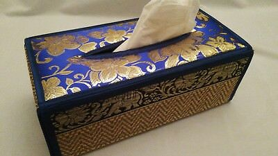 Thai Reed Blue With Gold Flowers Tissue Box Cover