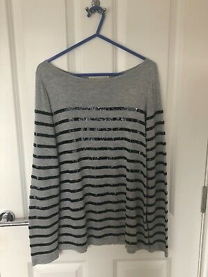 Michael/Michael Kors Grey Long Sleeve Top/Black Sequin Stripes, Size S