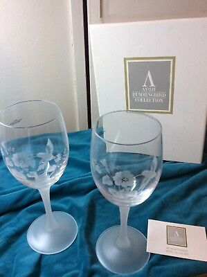 Pair Hummingbird Lead Crystal Wine Goblets Avon Gift Glasses New In Box NOS
