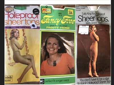 Vintage Nylon Stockings Fancy Free Pantyhose Lingerie 70s Underwear 3 New Packs