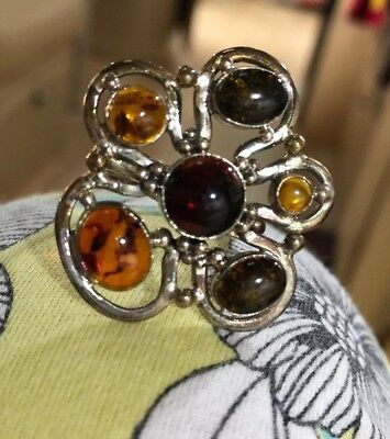 Amazing large Multi Colored amber and sterling silver vintage ring Signed ZIV