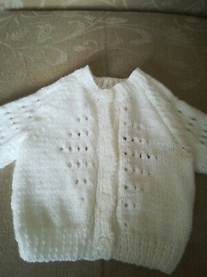 White hand knitted baby cardigan - new -  0 to 3 months