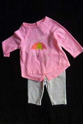Baby clothes GIRL 0-3m outfit bright pink/grey umbrella spots, LS top/leggings