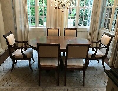 Baker Regency Neoclassical Mahogany Dining Room Table and Chairs (6)