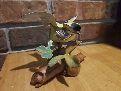 SIGNED Norman Brumm Yellow  Enamel Copper Metal Sculpture on Burl Driftwood