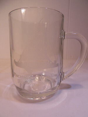 Glass Mug with Piscataqua Gundalow Etched on it, from Strawbey Banke