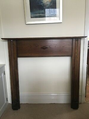 Vintage solid oak fireplace surround