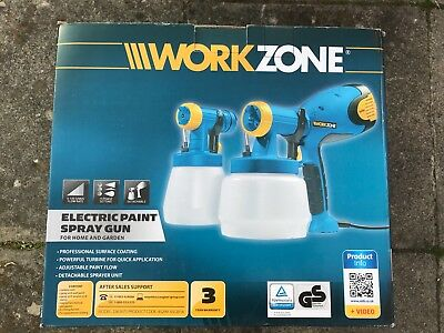 Workzone Electric Paint Sprayer Gun Twin Kit Indoors and Outdoors fences walls